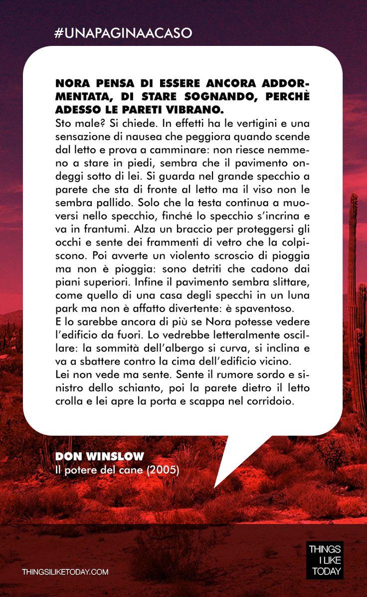 #UNAPAGINAACASO Uno dei libri più belli degli ultimi anni: un viaggio violento e appassionante fra Stati Uniti e Messico, una saga spietata fra narcotrafficanti, mafia e servizi segreti.  Lasciate stare se siete deboli di cuore! ;) Don Winslow - Il potere del cane (2005)