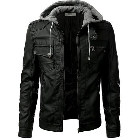 IDARBI Men's Premium Pu Leather Motorcycle Bomber Jacket with... ($65) ❤ liked on Polyvore featuring men's fashion, men's clothing, men's outerwear, men's jackets, mens flight jacket, mens motorcycle jackets, mens pleather jacket and mens jackets