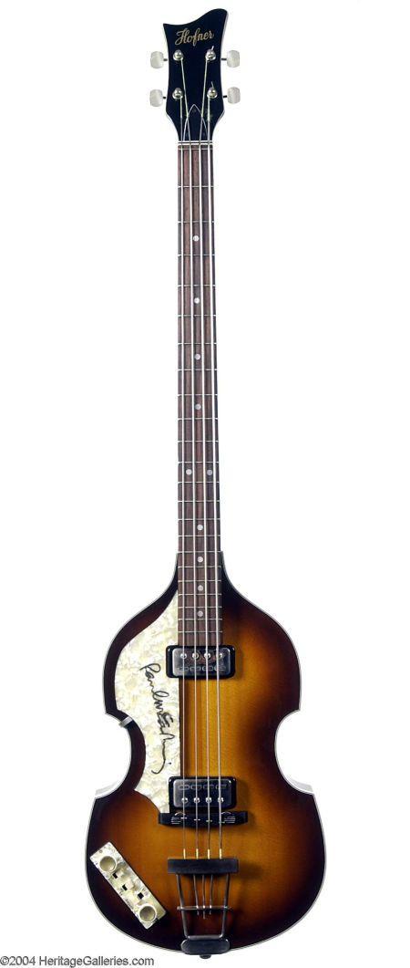 The Beatles: Paul McCartney Signed Left-Handed Hofner Bass