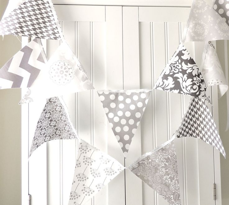 Banner, Bunting, Fabric Flags, Garland Party, Grey Polka Dot, Chevron, Houndstooth, Damask and Floral, Baby Nursery Decor, Wedding Decor