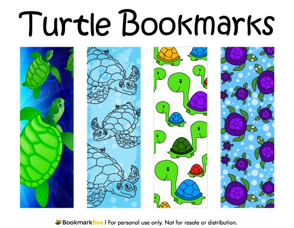 Free printable turtle bookmarks. The bookmarks include line drawings, sea turtles, cartoon turtles, and more. Download the PDF template at http://bookmarkbee.com/bookmark/turtle/