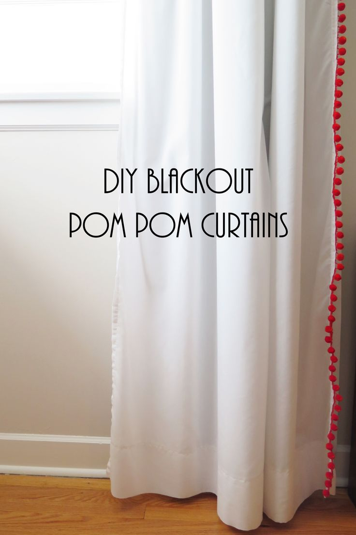 DIY blackout pom pom curtains. These are perfect for adding a pop of fun to a kid's room!