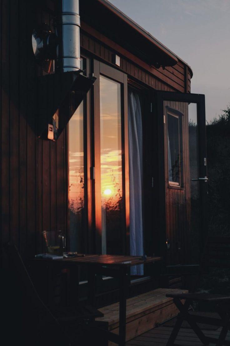 Wohnwagon Karl. Minimalistic holiday. tiny house. sunrise. nature. sustainable traveling.