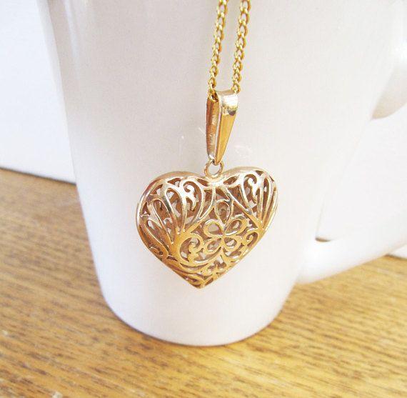 Vintage Gold Vermeil Filigree Puffy Heart Necklace Big Open