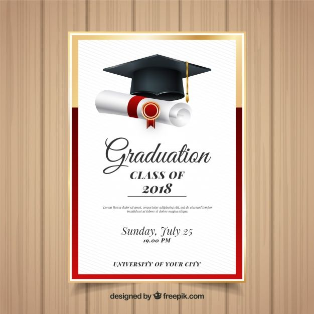 Download Elegant Graduation Invitation Template With Realistic Design For Free Graduation Invitations Template Graduation Invitations Graduation Invitation Cards