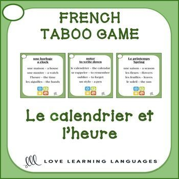 Playing French TABOO is a great way to get students to speak French and learn a lot of new vocabulary. This game is simple to modify and use with beginners and advanced students alike. In this CALENDRIER et HEURE theme version of the game there 40 French-English cards.
