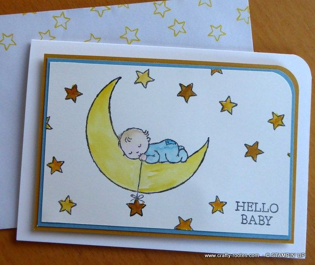 I have been itching to play with the Moon Baby Stamp set from Stampin' Up! ever since I spotted it in the Spring/Summer catalogue. There are some really cute images in the set and I knew I would love colouring them in. Let me tell the set didn't disappoint. www.crafty-rootes.com- Moon Baby – Stampin' Up!I …
