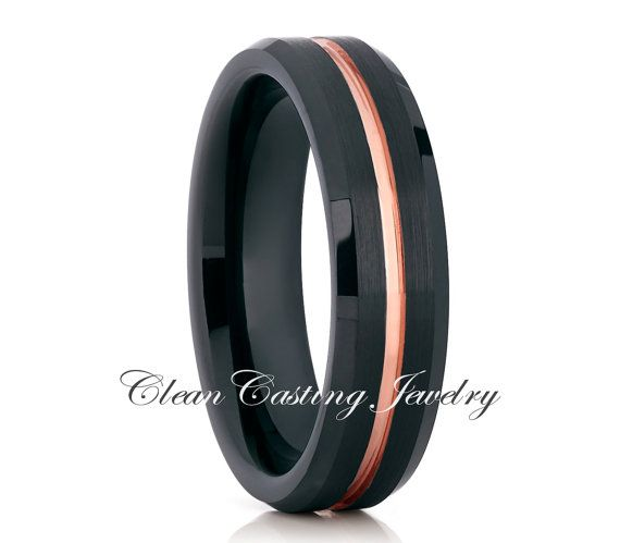 Brushed Black Rose Gold Tungsten Wedding Band,Men's Tungsten Wedding Ring,Anniversary Band,18k Rose Gold,Engagement Ring,Comfort Fit,6mm