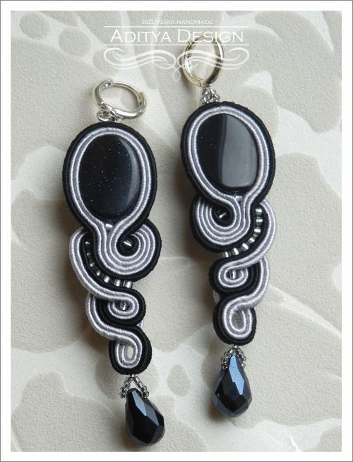 Soutache Earrings, Black Earrings, Black Gray, Soutache Earrings, Handmade Jewelry, Statement Jewelry, OOAK Jewelry, Medusa Model by AdityaDesign