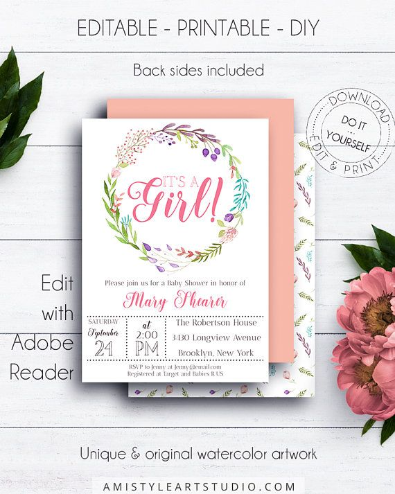 Baby Girl Shower Invitation, with delightful and classy watercolor floral wreath artwork in vintage style.This adorable it's a girl baby shower invite template listing is for an instant download EDITABLE PDF so you can download it right away, DIY edit and print it at home or at your local copy shop by Amistyle Art Studio on Etsy