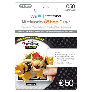 Nintendo eShop Card 50 euro  Photos with Mario  Met deze Nintendo eShop Card koop je voor 50 euro downloadtegoed voor je Nintendo console. Download content of voeg nieuwe Mii-personages toe aan je collectie. Nu met gratis Photos with Mario content!  EUR 50.00  Meer informatie