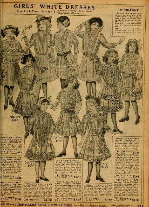 Sears Catalogue 1912 Girls White Dresses Ref Fashion C
