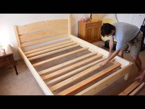 Diy como hacer una cama de dos plazas de madera pino f cil - Hacer una cama de madera ...