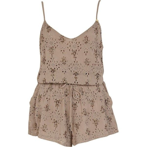 River Island Light brown broderie cami playsuit (€25) ❤ liked on Polyvore featuring jumpsuits, rompers, dresses, playsuits, jumpsuit, sale, romper jumpsuit, playsuit jumpsuit, brown romper and playsuit romper