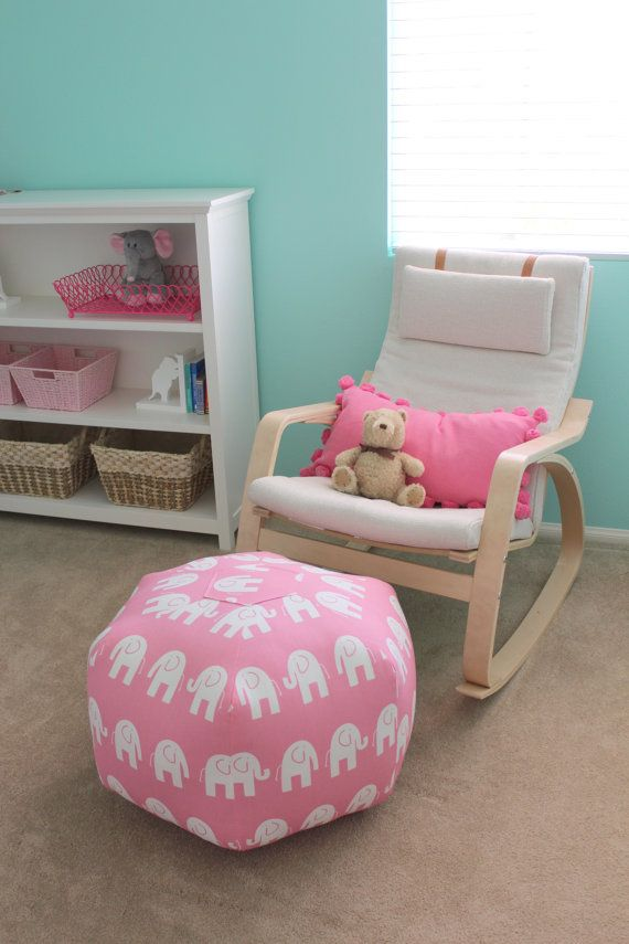 How To Make A Floor Pillow For Baby : Etsy - Ottoman Pouf Floor Pillow Baby Pink White Elephant by aletafae. Evie would LOVE this ...