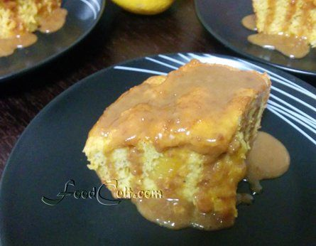Sometimes a nice, quick #dessert for friends... a basic #citrus #cake with #orange slices #baked right in ... topped with a #salted #caramel #sauce.