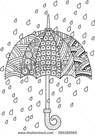 Hand Draw Vector Doodle Coloring Page For Adult I Love Autumn An Umbrella And Leaves Fashion Style