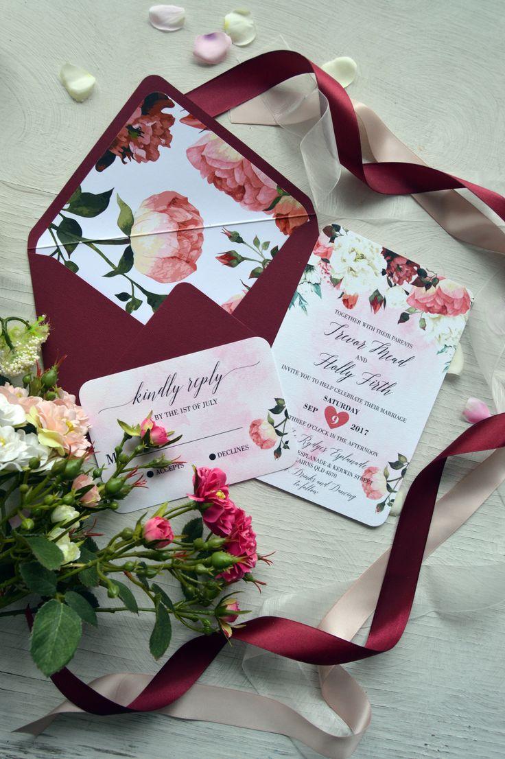 148 best Burgundy Wedding Invitations images on Pinterest ...