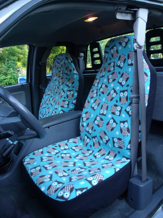 1 Set Of Turquoise Owls Print Custom Made Car Seat Covers