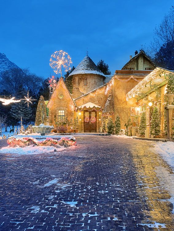 La Caille in Christmas lights, Little Cottonwood Canyon, SLC, Utah...my all time favorite place to eat and the cabin to sleep...beautiful!
