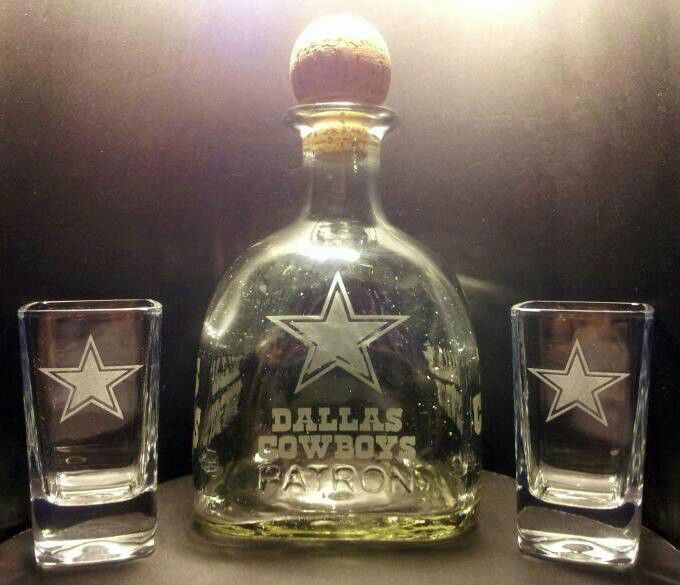 Etched Dallas Cowboys Patron Tequila Bottle And Shot Glass
