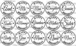15 FEMALE relatives birthday  circle sentiment digi stamps  Mum  Mother  Gran etc Fancy font with hearts on Craftsuprint - View Now!