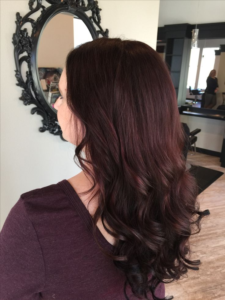 Dark mahogany hair color with extensions