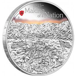 2015 #ANZAC Spirit Making Of A #Nation 1oz #Silver Proof #Coin. The 1915 #Gallipoli campaign of World War I was considered a costly military failure, but from this defeat the Anzac legend was born. The Anzacs had earned an enduring place in the Australian psyche, creating an incredible story of courage and endurance in the face of death and despair
