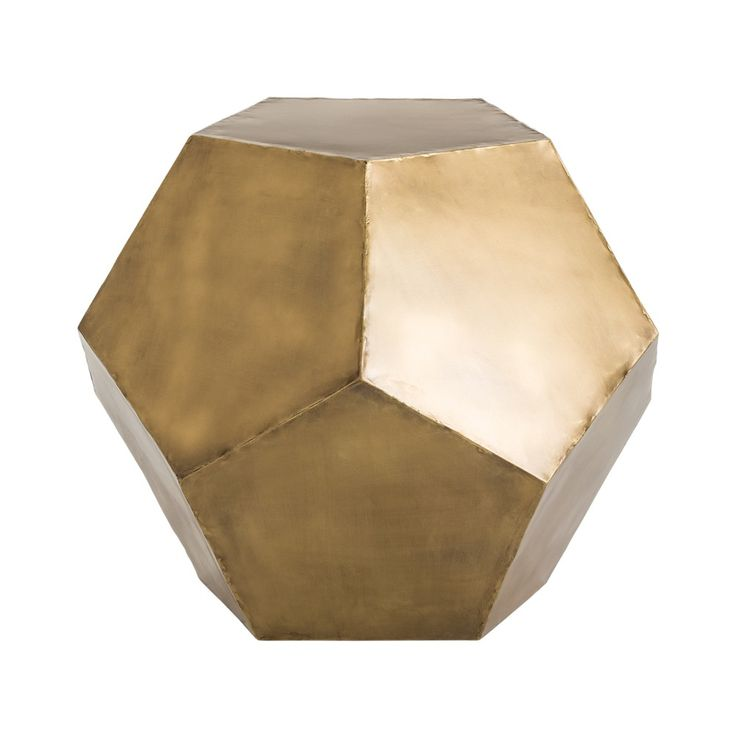 Rhonda's Pick for Fall 2015: Cornerstone Home Interiors Offers:  This pentagonal antique brass side table is a perfect example of the geometric trend. Use next to a chair or try two in front of a sofa...this is a natural. Can also be used as a planter when turned upside down. Overall Specifications Height at tallest point: 23 in Depth at largest point: 26.5 in Width at widest point: 26.5 in $599.00