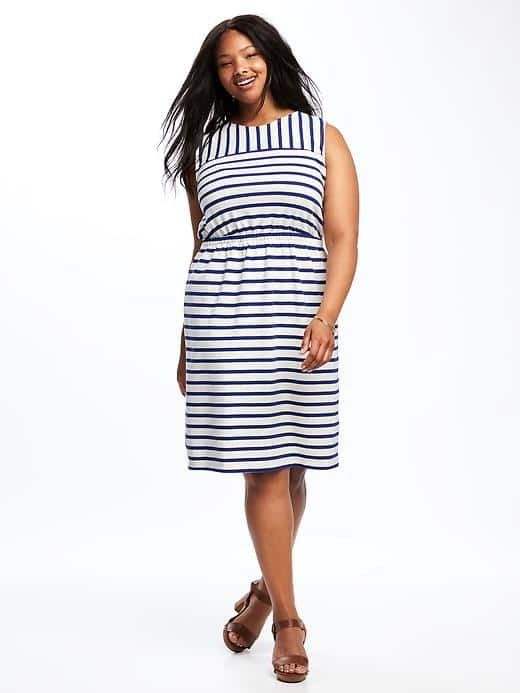 SPRING & SUMMER FASHION TRENDS 2017! STRIPED JERSEY EASY-WAIST PLUS-SIZE DRESS @ Old Navy. This is a great work dress that can be transitioned to dinner or drinks after work. (affiliate)