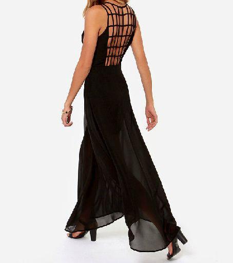 Sexy checkered stitching sleeveless chiffon dress