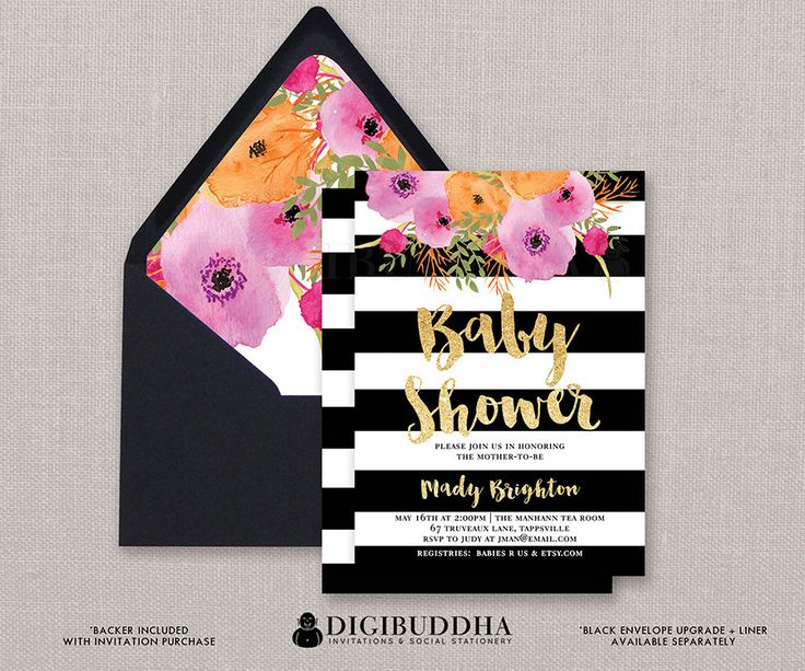 Baby Shower Invitation Girl Baby Shower by digibuddhaPaperie