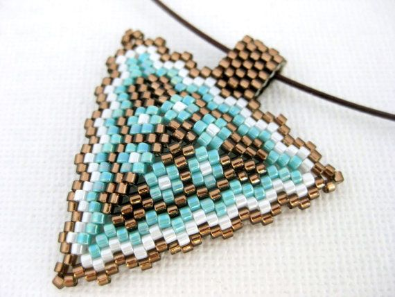 Peyote Pendant Triangle Necklace Brown Turquoise White Beadwork Beaded Beadwoven Seed Bead Handmade Geometric