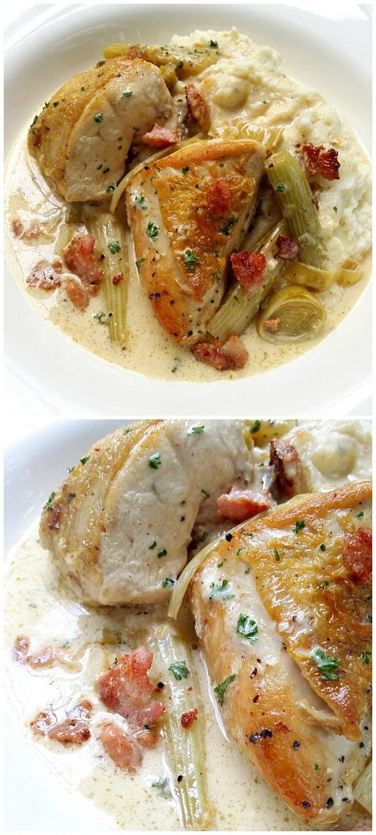 Low Carb Creamy Chicken with Fennel and Bacon, and a Cauliflower and Nutmeg Mash