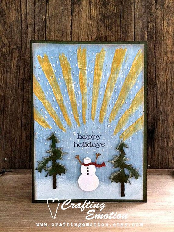 Handmade Christmas Card Happy Holidays Snowman by Crafting Emotion $14.50AUD