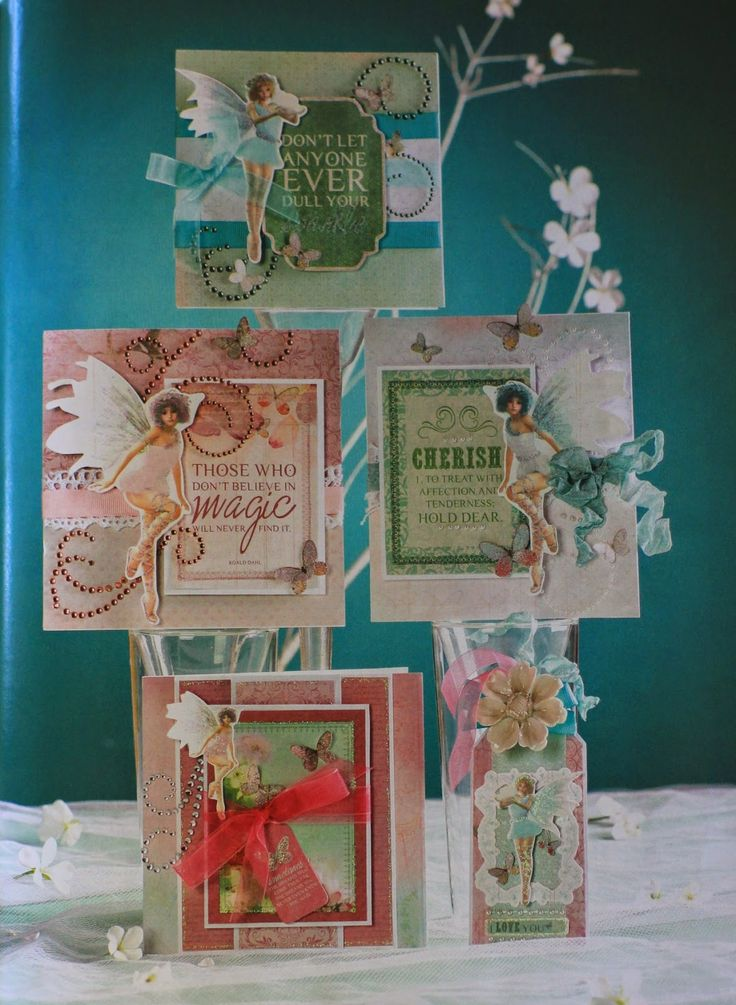 Australian Cardmaking Stamping and Papercraft Vol 20 No 4 5 Card Project (Including a tag) using Kaisercraft - Enchanted Garden Collection