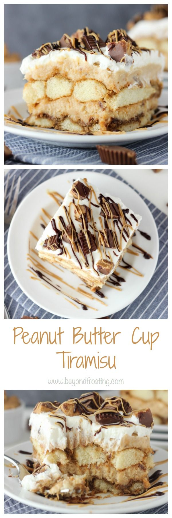 You'll need an extra big fork for this Peanut Butter Cup Tiramisu. This dessert is layers of  espresso-soaked ladyfingers, peanut butter mousse and whipped cream. It's also loaded with Reese's Peanut Butter Cups, that's just a bonus