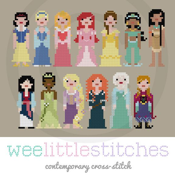 Storybook Disney Princesses Cross Stitch Pattern by by Wee Little Stitches