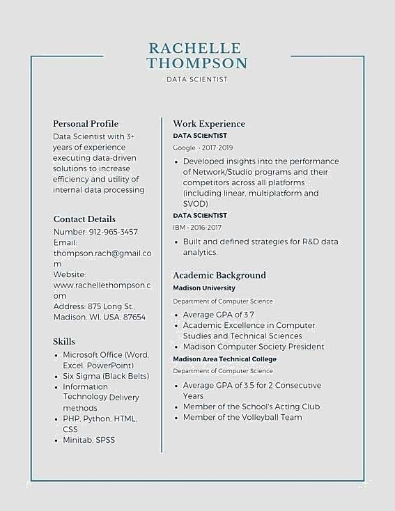 Data Scientist Resume Example In 2020 Data Scientist Resume Examples Resume Template Examples
