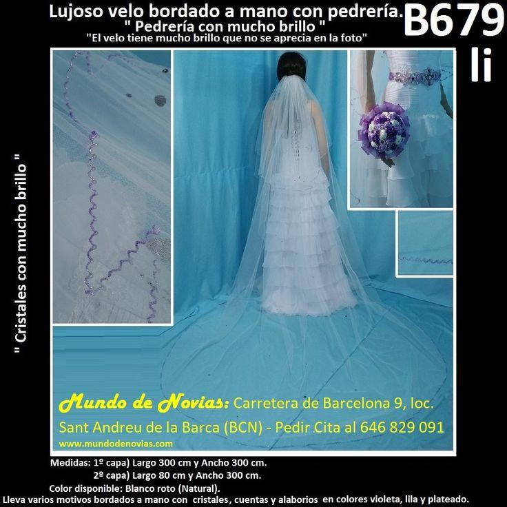 Elegante Velo de Novia de Tul con una elegante pedrería de color, de la marca Novias Ukraine. Se hacen envíos a toda España y también se pude pedir CITA para venir a probarlo en tienda (WhatsApp 646829091).
