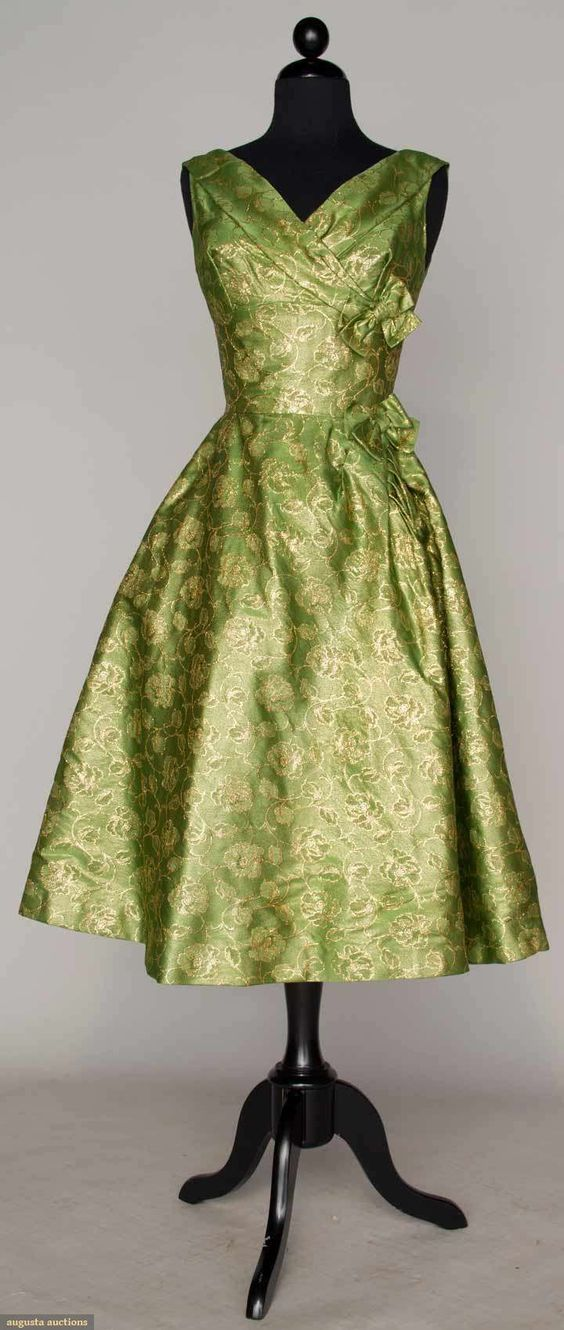 1955 Cocktail Dress with Golden Flowers Pattern