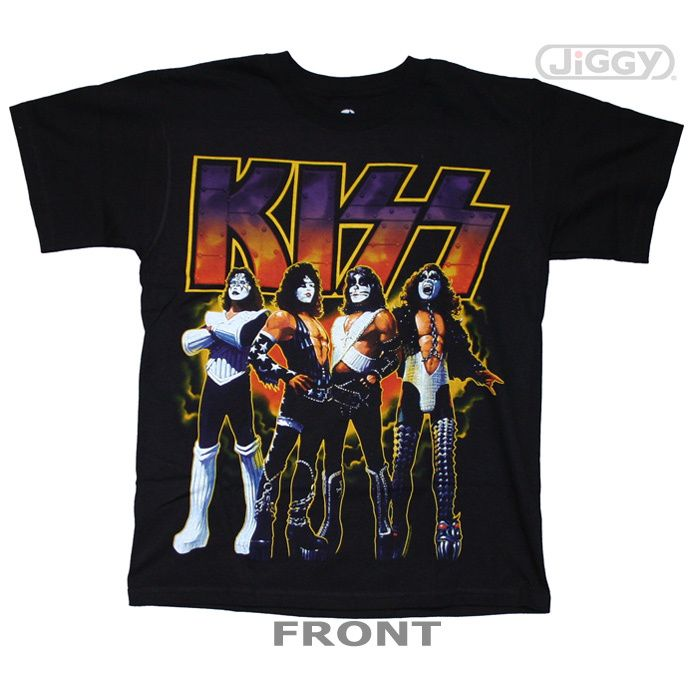 """JiGGy.Com - Kiss - Love Gun On Fire T-Shirt Kiss t-shirt with album cover artwork from the band's 1977 release, """"Love Gun."""" This kick ass t-shirt's full color graphics make it possibly the coolest Kiss t-shirt ever. Printed on a black 100% cotton t-shirt."""