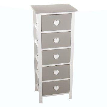 Meuble commode chiffonnier 5 tiroirs design coeur en bois coloris blanc et gris