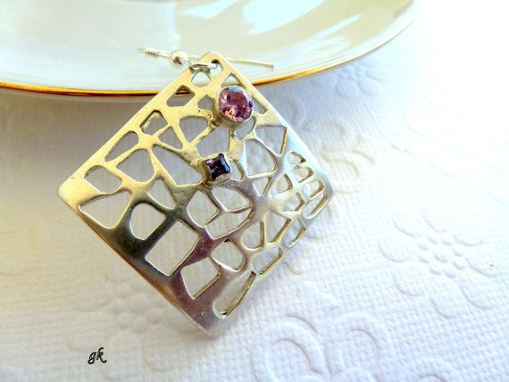 Square Silver Earrings Romantic  Earrings by GeorgiaCollection, €55.00