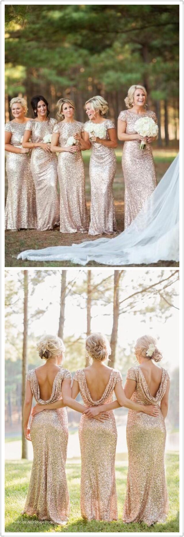 Gold Sequin bridesmaid dress,Custom Bridesmaid dress,High Neck bridesmaid dress,Short Sleeves bridesmaid dress,Open Back bridesmaid dress,Long Bridesmaid Dresses,