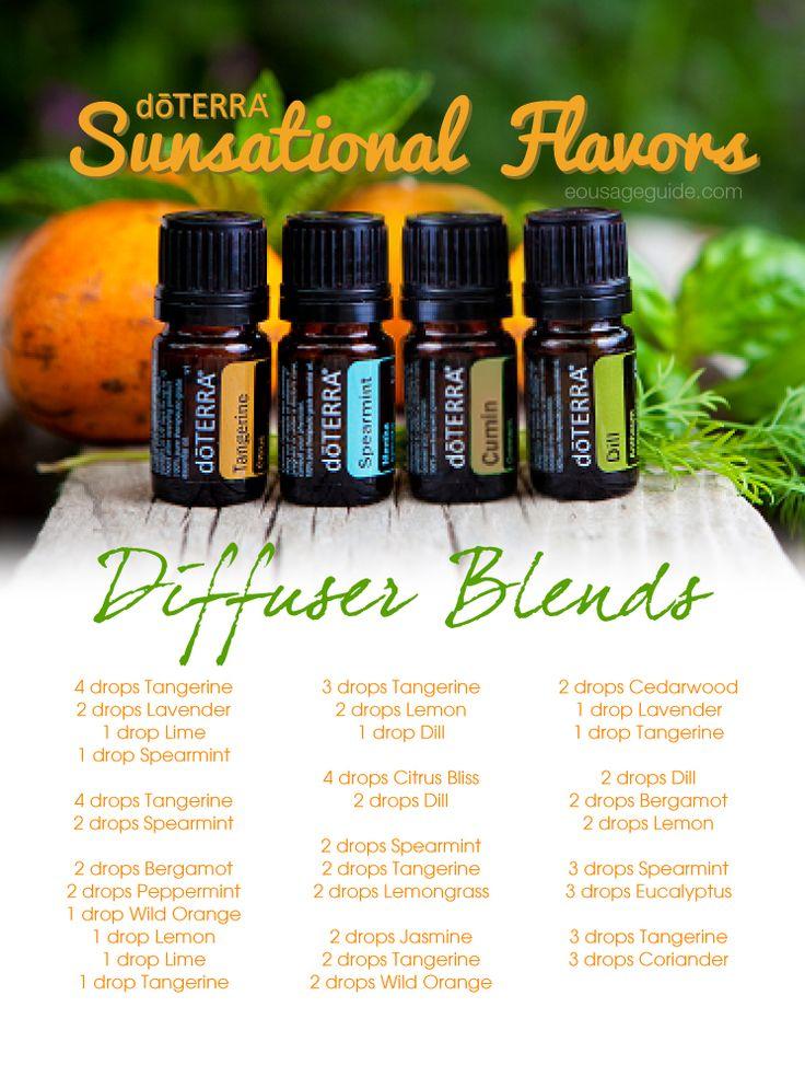 Sunsational Flavors Diffuser Blends Tangerine, Spearmint, Cumin, Dill Essential Oils #doterra