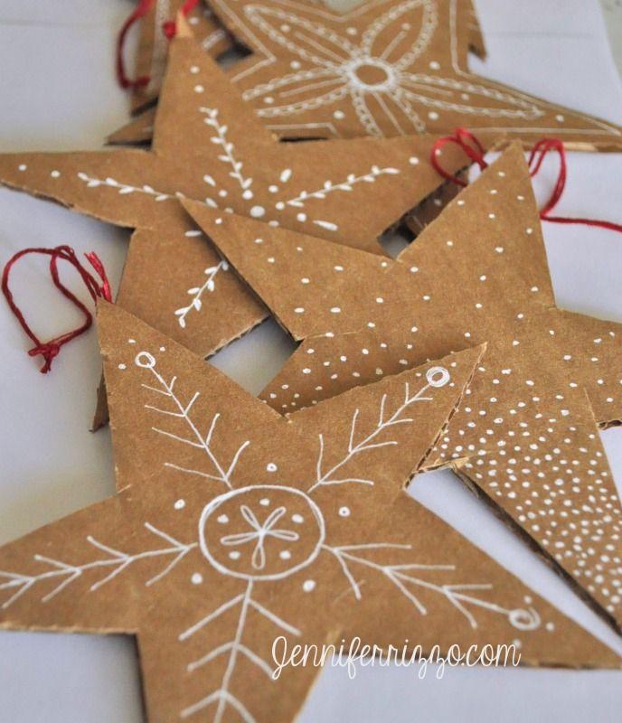Hand-drawn recycled cardboard stars