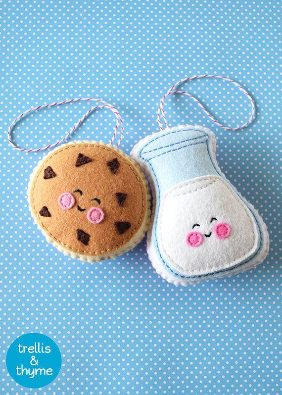 PDF Pattern - Cookie & Milk Felt Pattern, Kawaii Felt Ornament Pattern, Felt…