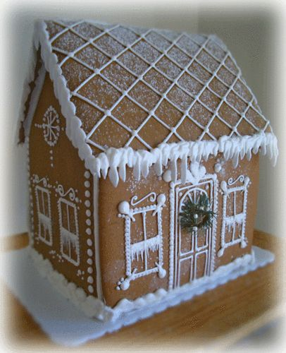 Simple gingerbread house - Beautifully iced.
