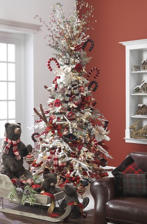 25 Themed Christmas Trees for 2013 by RAZ - Christmas Decorating !!! Bebe'!!! Cool Woodland Tree!!!